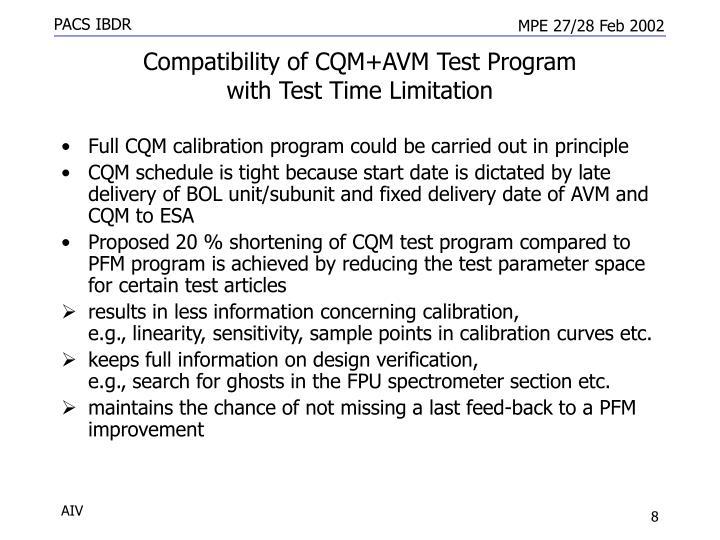 Compatibility of CQM+AVM Test Program