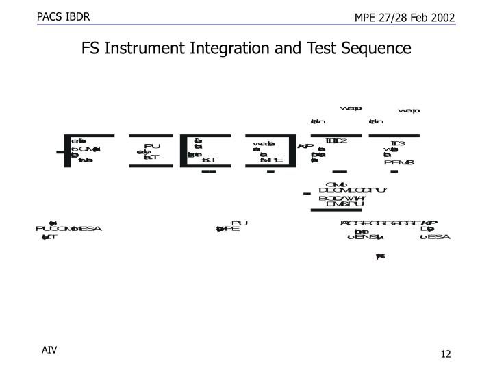 FS Instrument Integration and Test Sequence