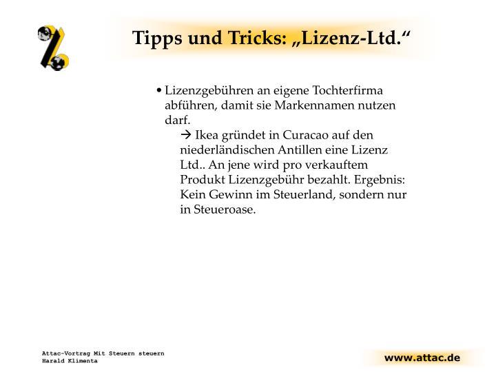 Tipps und tricks lizenz ltd