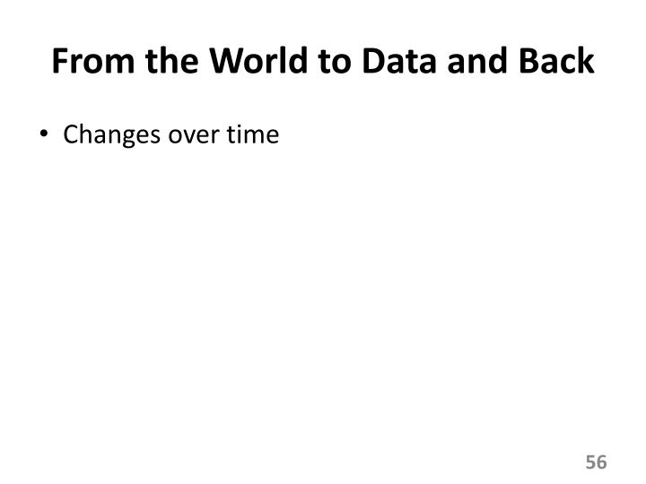 From the World to Data and Back