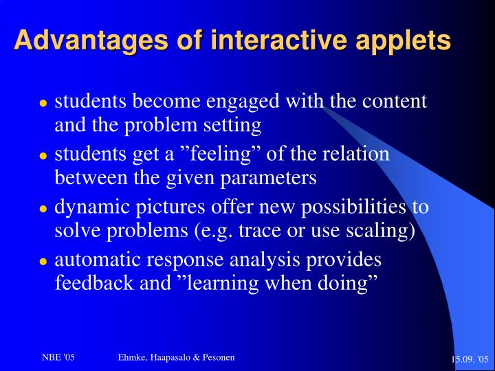 Advantages of interactive applets