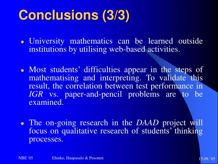 Conclusions (3/3)