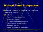 mutual fund prospectus