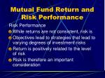 mutual fund return and risk performance1