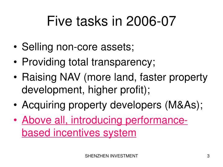 Five tasks in 2006 07
