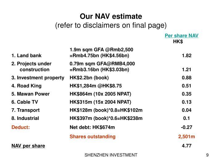 Our NAV estimate