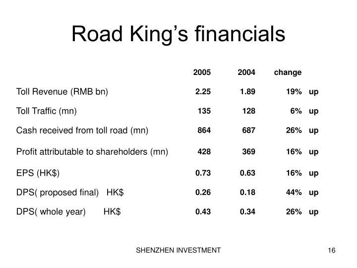 Road King's financials