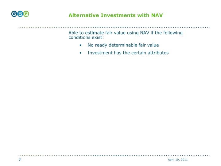 Alternative Investments with NAV