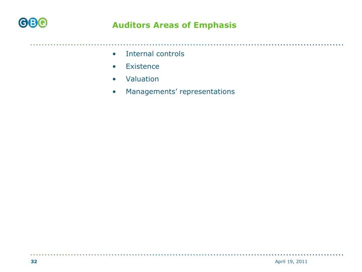 Auditors Areas of Emphasis