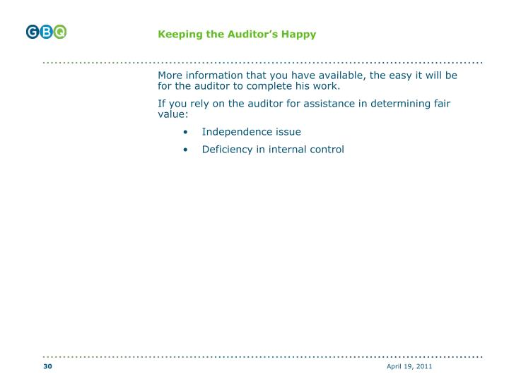 Keeping the Auditor's Happy
