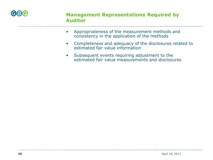 Management Representations Required by Auditor
