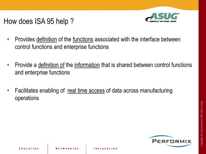 How does ISA 95 help ?