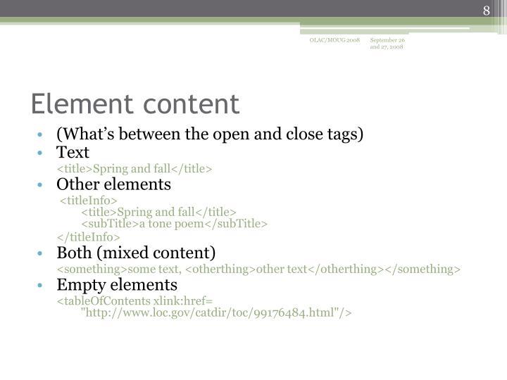 Element content