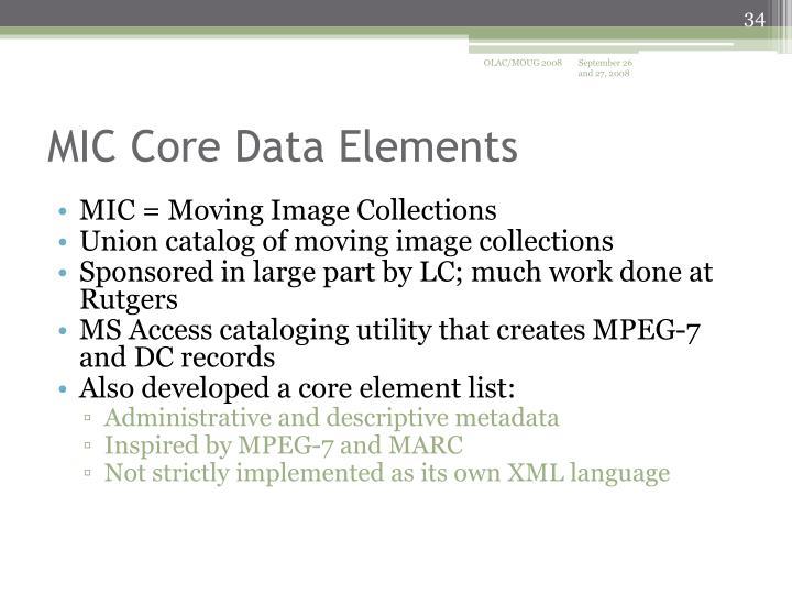 MIC Core Data Elements