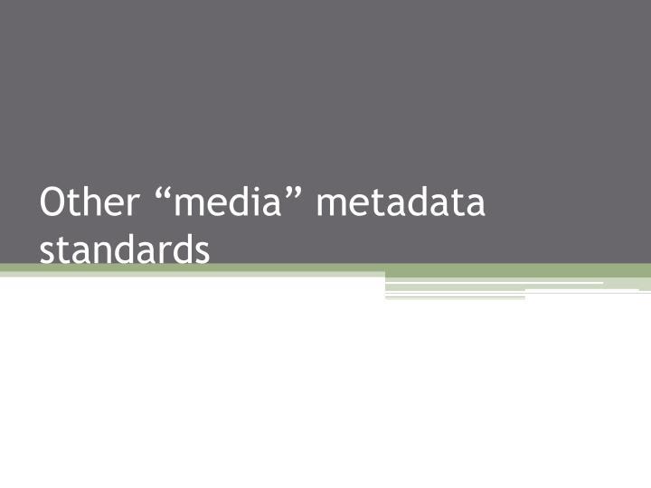 "Other ""media"" metadata standards"