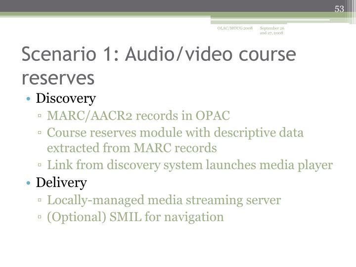 Scenario 1: Audio/video course reserves