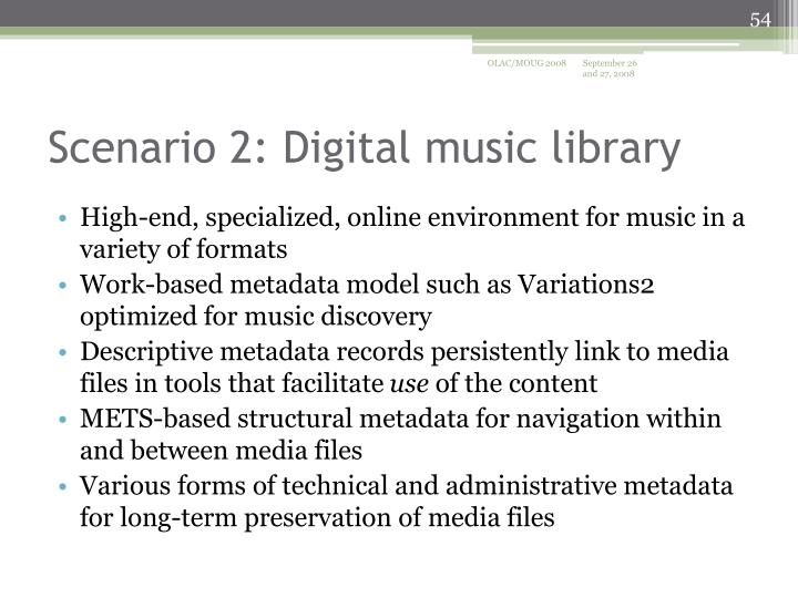 High-end, specialized, online environment for music in a variety of formats