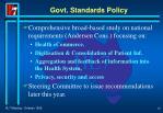 govt standards policy