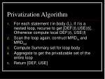 privatization algorithm