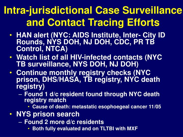 Intra-jurisdictional Case Surveillance and Contact Tracing Efforts