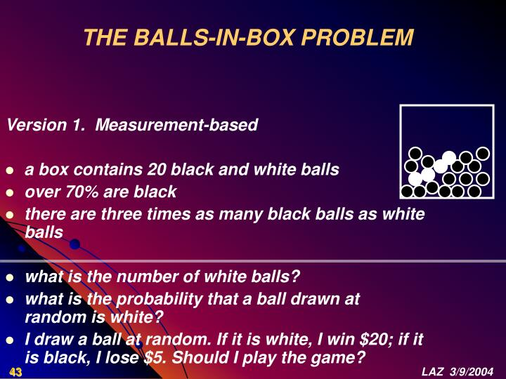 THE BALLS-IN-BOX PROBLEM