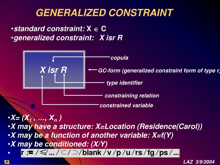 GENERALIZED CONSTRAINT
