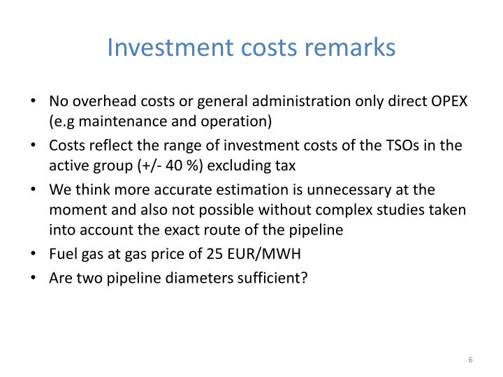 Investment costs remarks