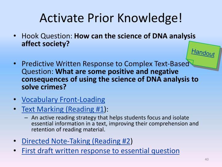 Activate Prior Knowledge!