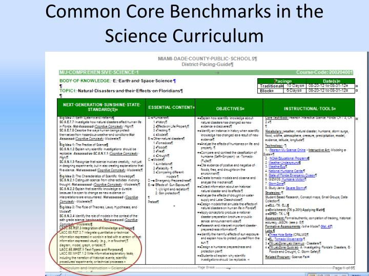 Common Core Benchmarks in the Science Curriculum