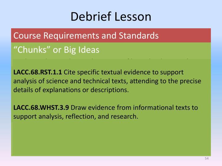 Debrief Lesson