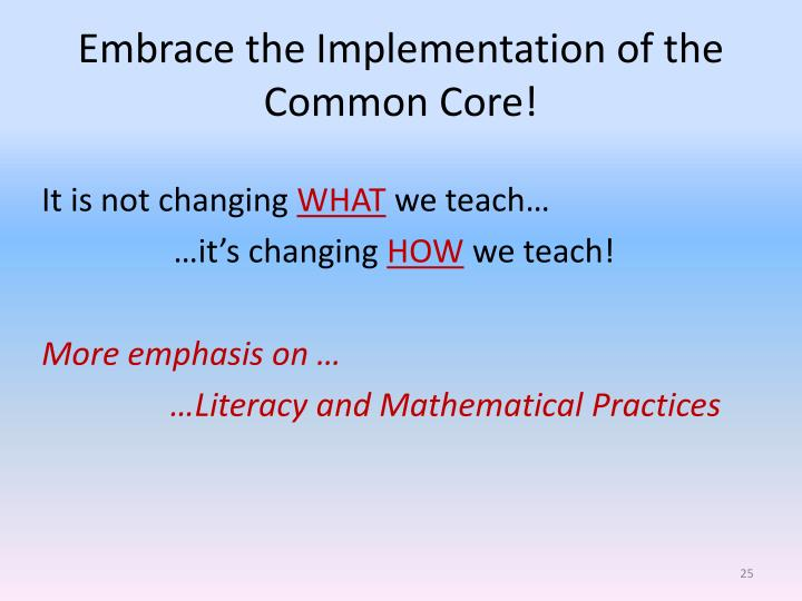 Embrace the Implementation of the Common Core!