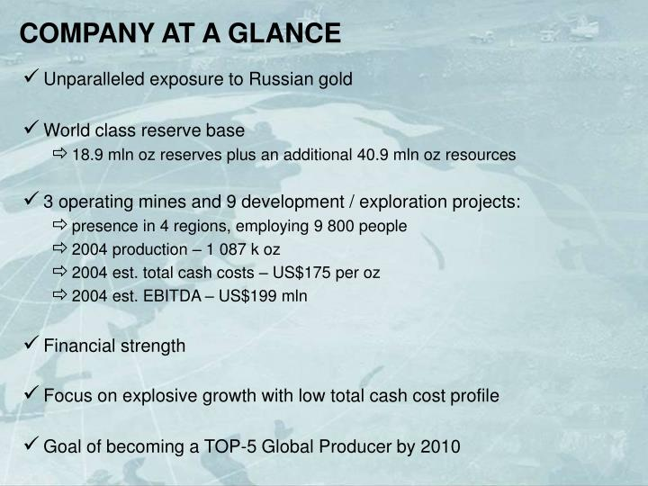COMPANY AT A GLANCE