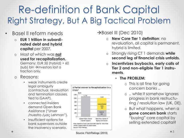 Re definition of bank capital right strategy but a big tactical problem