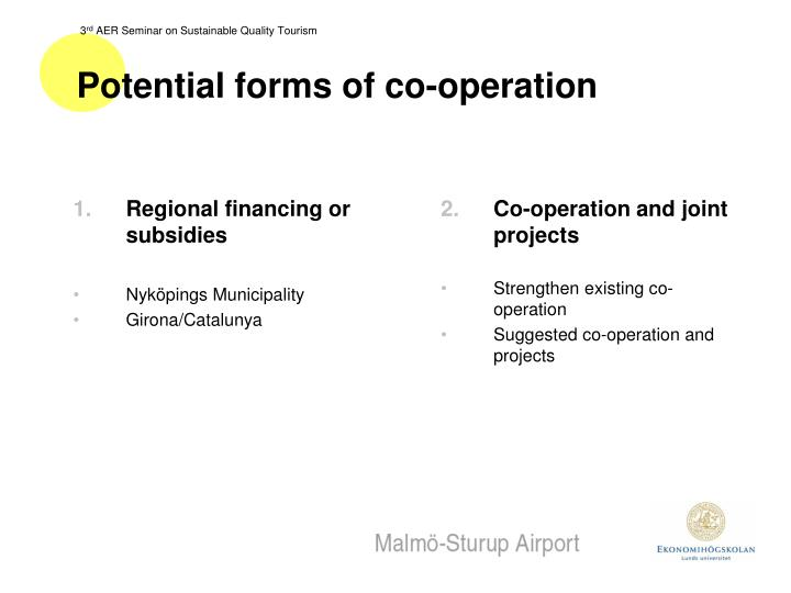 Potential forms of co-operation