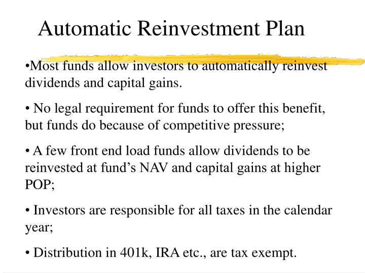 Automatic Reinvestment Plan