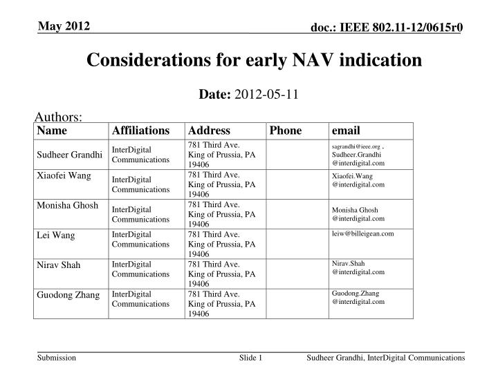 considerations for early nav indication n.