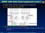 simd with data rearrangement cont
