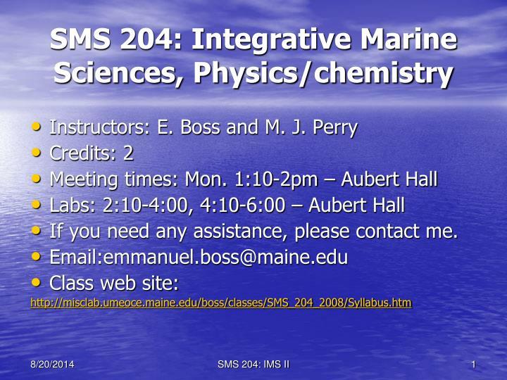 sms 204 integrative marine sciences physics chemistry n.