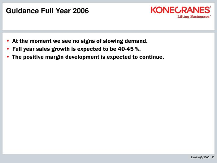 Guidance Full Year 2006