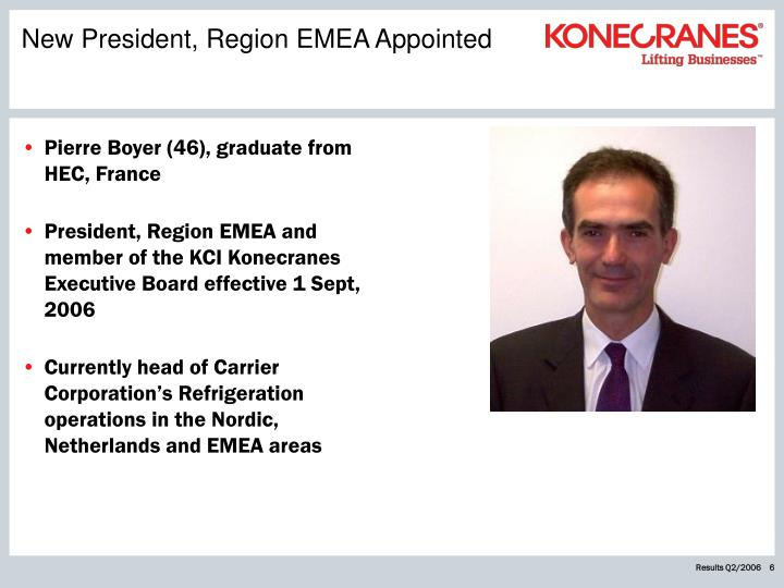 New President, Region EMEA Appointed