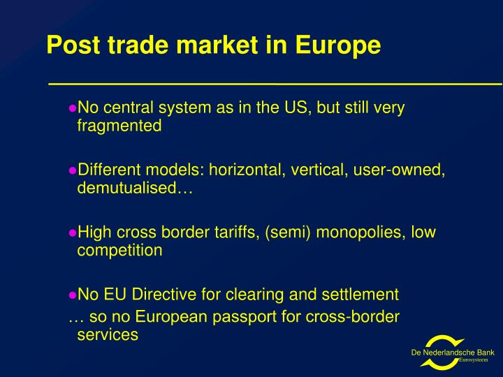 Post trade market in Europe
