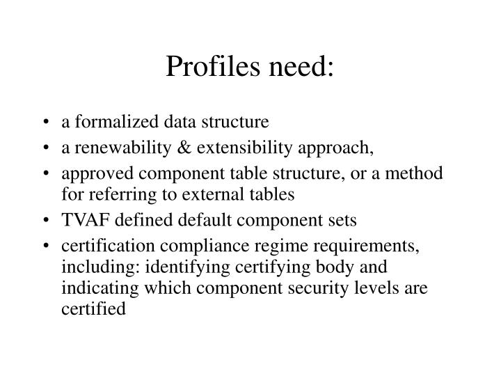 Profiles need: