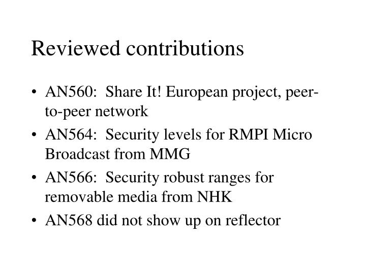 Reviewed contributions