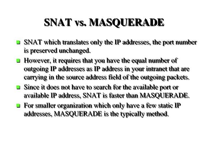 SNAT vs. MASQUERADE