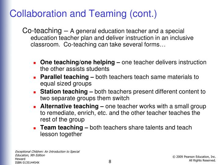 Collaboration and Teaming (cont.)