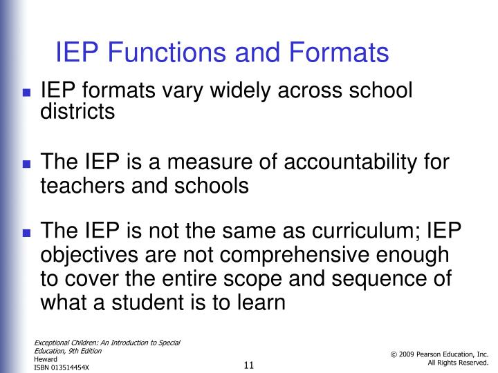 IEP Functions and Formats