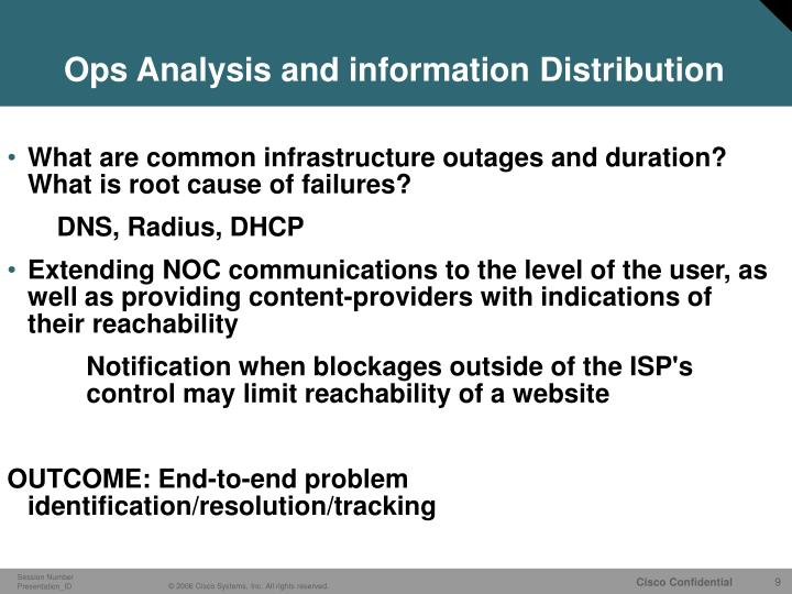 Ops Analysis and information Distribution