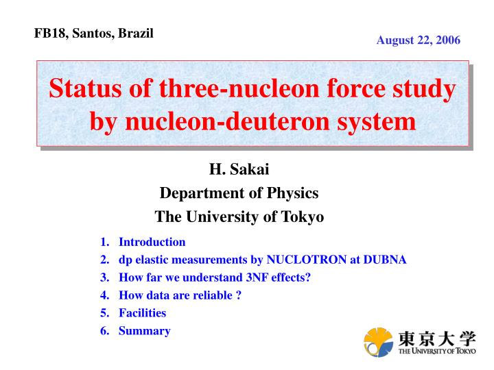 status of three nucleon force study by nucleon deuteron system n.