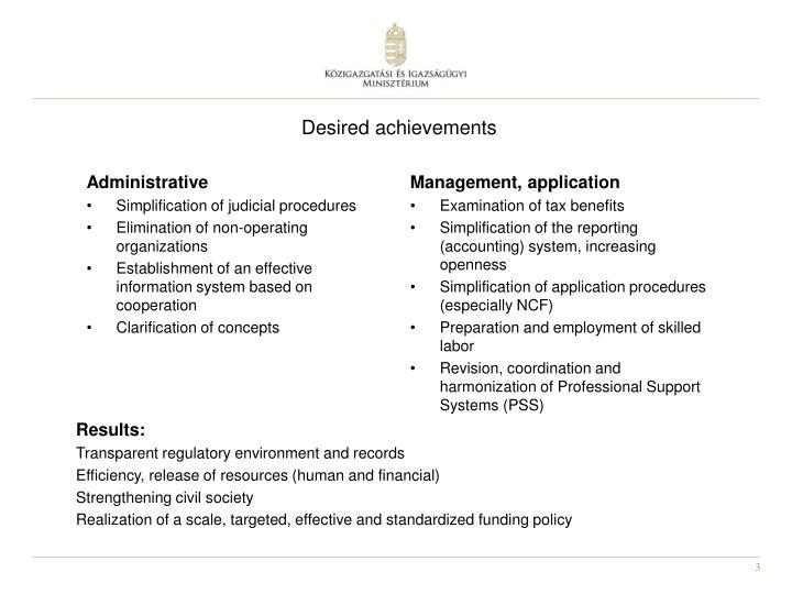 Desired achievements