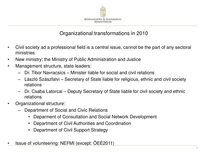Organizational transformations in 2010